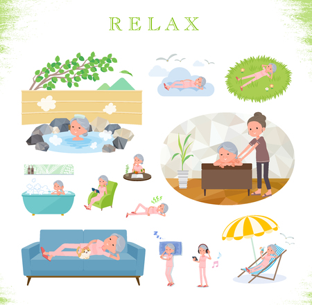 A set of senior women about relaxing.There are actions such as vacation and stress relief.Its vector art so its easy to edit.