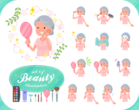 A set of senior women on beauty.There are various actions such as skin care and makeup.Its vector art so its easy to edit. Illustration
