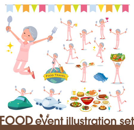 A set of senior women on food events.There are actions that have a fork and a spoon and are having fun.Its vector art so its easy to edit.