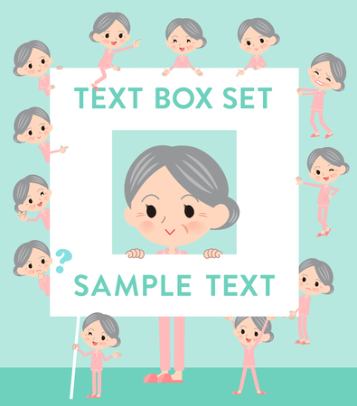 A set of senior women with a message board.Since each is divided, you can move it freely.Its vector art so its easy to edit.