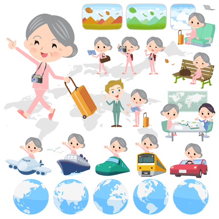 A set of senior women on travel.There are also vehicles such as boats and airplanes.Its vector art so its easy to edit.