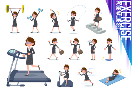 A set of bad condition women on exercise and sports.There are various actions to move the body healthy.It's vector art so it's easy to edit.
