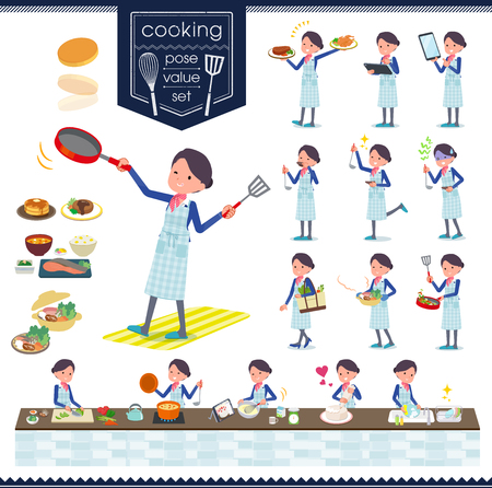 A set of women about cooking.There are actions that are cooking in various ways in the kitchen.It's vector art so it's easy to edit.