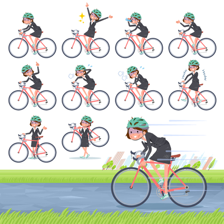A set of bad condition women on a road bike.There is an action that is enjoying.It's vector art so it's easy to edit.