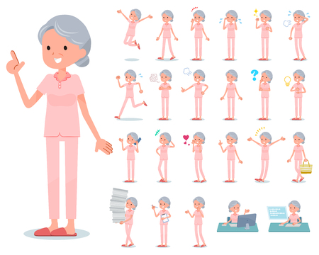 A set of senior women with who express various emotions.There are actions related to workplaces and personal computers.Its vector art so its easy to edit. Illustration
