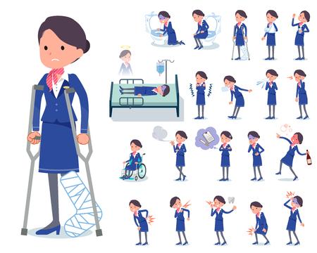 Een reeks vrouwen met letsel en ziekte. Er zijn acties die afhankelijkheid en dood uitdrukken. Het is vectorkunst, dus het is gemakkelijk te bewerken.