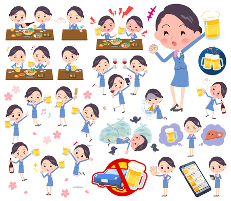 A set of women related to alcohol.There is a lively appearance and action that expresses failure about alcohol.It's vector art so it's easy to edit. 向量圖像