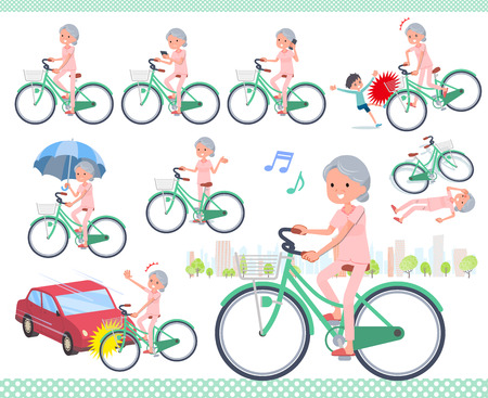 A set of senior women riding a city cycle.There are actions on manners and troubles.Its vector art so its easy to edit.