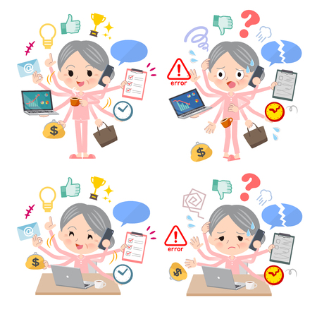 A set of senior women who perform multitasking in the office.There are things to do smoothly and a pattern that is in a panic.It's vector art so it's easy to edit.