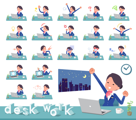 A set of women on desk work.There are various actions such as feelings and fatigue.It's vector art so it's easy to edit. Stock Vector - 109761994