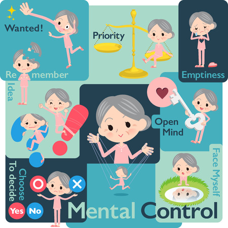 A set of senior women who control emotions.A variety of image illustrations expressing self emotion.It's vector art so it's easy to edit.