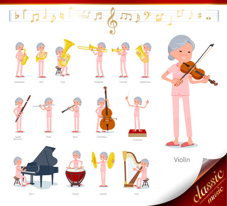 A set of senior women on classical music performances.There are actions to play various instruments such as string instruments and wind instruments.Its vector art so its easy to edit.