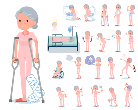 A set of senior women with injury and illness.There are actions that express dependence and death.It's vector art so it's easy to edit.