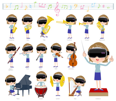 A set of women wearing virtual reality goggles on classical music performances.There are actions to play various instruments such as string instruments and wind instruments.It's vector art so it's easy to edit. Vettoriali