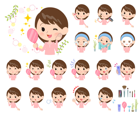 A set of Patient women on beauty.There are various actions such as skin care and makeup.It's vector art so it's easy to edit.
