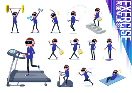 A set of women wearing virtual reality goggles on exercise and sports.There are various actions to move the body healthy.It's vector art so it's easy to edit.