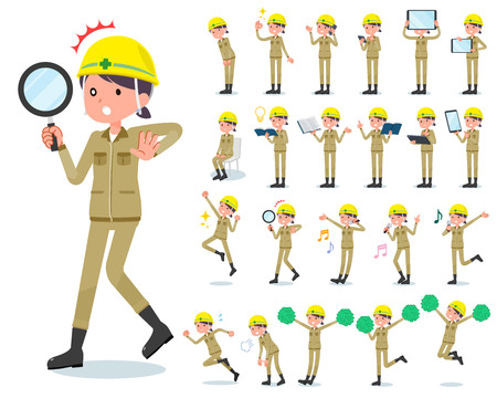 A set of working women with digital equipment such as smartphones. There are actions that express emotions. It's vector art so it's easy to edit. Illustration