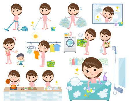 A set of Patient women related to housekeeping such as cleaning and laundry. There are various actions such as cooking and child rearing. Its vector art so its easy to edit.
