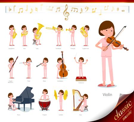 Eine Gruppe junger Frauen bei klassischen Musikdarbietungen. Es gibt Aktionen zum Spielen verschiedener Instrumente wie Streichinstrumente und Blasinstrumente. Es ist Vektorgrafiken, so dass es einfach zu bearbeiten ist.