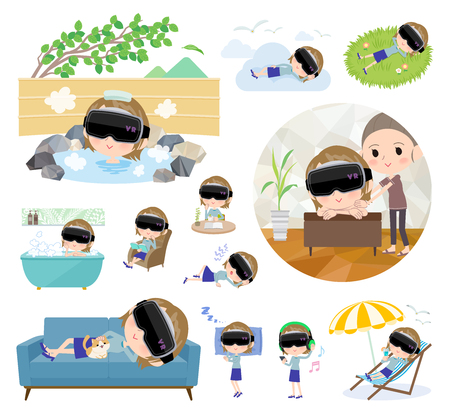 A set of women wearing virtual reality goggles about relaxing.There are actions such as vacation and stress relief.Its vector art so its easy to edit.