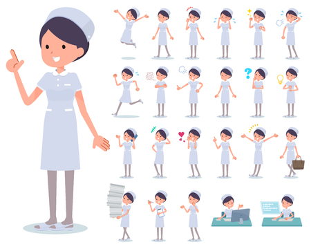 A set of Nurse women with who express various emotions.There are actions related to workplaces and personal computers.It's vector art so it's easy to edit.
