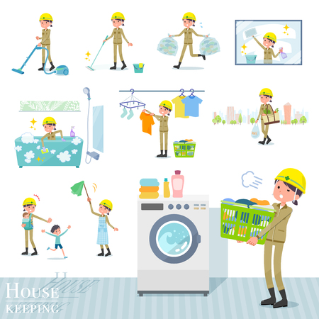 A set of working women related to housekeeping such as cleaning and laundry.There are various actions such as child rearing.It's vector art so it's easy to edit. Ilustração