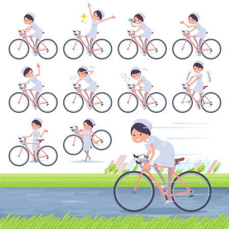 A set of Nurse women on a road bike.There is an action that is enjoying.It's vector art so it's easy to edit.