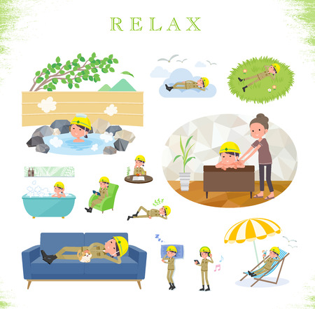 A set of working women about relaxing.There are actions such as vacation and stress relief.Its vector art so its easy to edit.  イラスト・ベクター素材