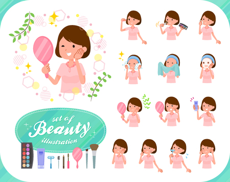 A set of young women on beauty.There are various actions such as skin care and makeup.Its vector art so its easy to edit. Stock Illustratie