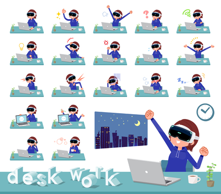 A set of women wearing virtual reality goggles on desk work.There are various actions such as feelings and fatigue.It's vector art so it's easy to edit. Stock Vector - 124040008