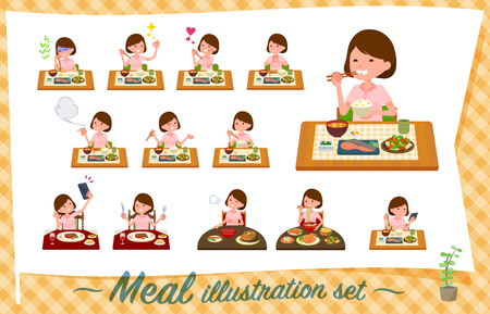A set of young women about meals.Japanese and Chinese cuisine, Western style dishes and so on.Its vector art so its easy to edit.