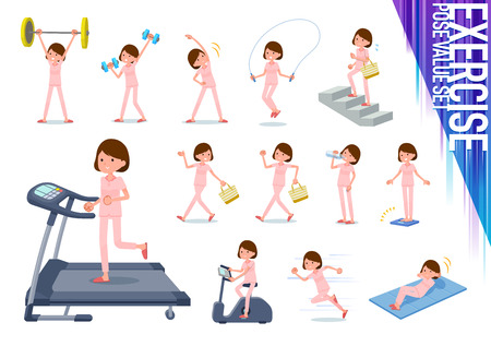 A set of young women on exercise and sports.There are various actions to move the body healthy.Its vector art so its easy to edit. Illustration