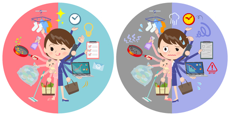 A set of Patient women who perform multitasking in offices and private.There are things to do smoothly and a pattern that is in a panic.It's vector art so it's easy to edit.