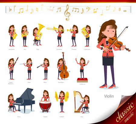 A set of women in the 90's dress on classical music performances.There are actions to play various instruments such as string instruments and wind instruments.It's vector art so it's easy to edit. Vettoriali