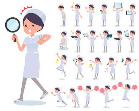 A set of Nurse women with digital equipment such as smartphones. There are actions that express emotions. It's vector art so it's easy to edit.