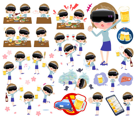 A set of women wearing virtual reality goggles related to alcohol.There is a lively appearance and action that expresses failure about alcohol.It's vector art so it's easy to edit.