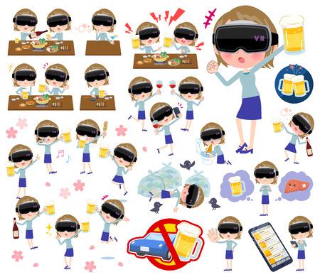 Un ensemble de femmes portant des lunettes de réalité virtuelle liées à l'alcool. Il y a une apparence et une action vivantes qui expriment l'échec de l'alcool. C'est un art vectoriel, il est donc facile à modifier.