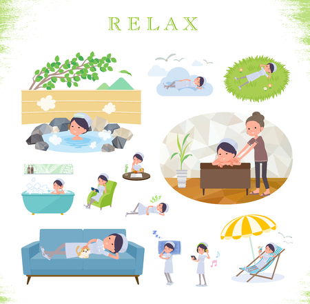 A set of Nurse women about relaxing.There are actions such as vacation and stress relief.It's vector art so it's easy to edit. Vettoriali