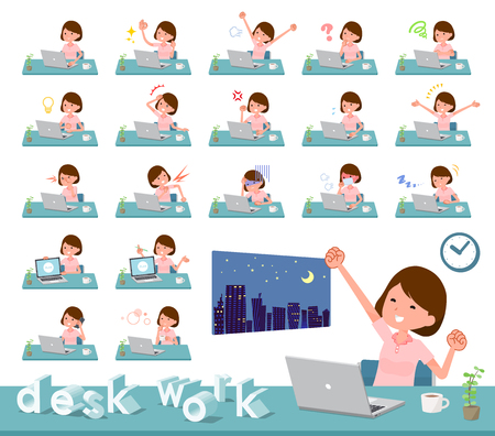 A set of young women on desk work.There are various actions such as feelings and fatigue.It's vector art so it's easy to edit. Stock Vector - 124040040