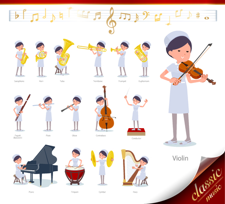 A set of Nurse women on classical music performances. There are actions to play various instruments such as string instruments and wind instruments. It's vector art so it's easy to edit.