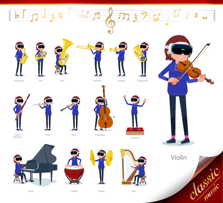 A set of women wearing virtual reality goggles on classical music performances.There are actions to play various instruments such as string instruments and wind instruments.Its vector art so its eas  イラスト・ベクター素材