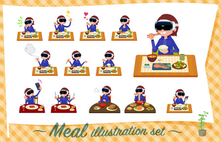 A set of women wearing virtual reality goggles about meals.Japanese and Chinese cuisine, Western style dishes and so on.Its vector art so its easy to edit.  イラスト・ベクター素材