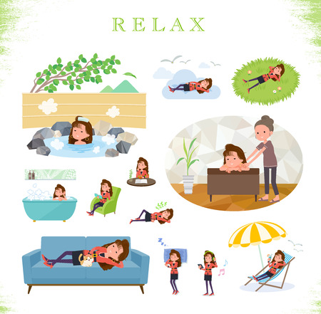 A set of women in the 90s dress about relaxing.There are actions such as vacation and stress relief.Its vector art so its easy to edit.