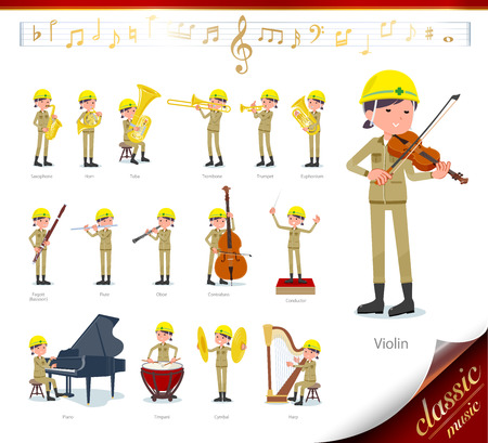 A set of working women on classical music performances.There are actions to play various instruments such as string instruments and wind instruments.Its vector art so its easy to edit.