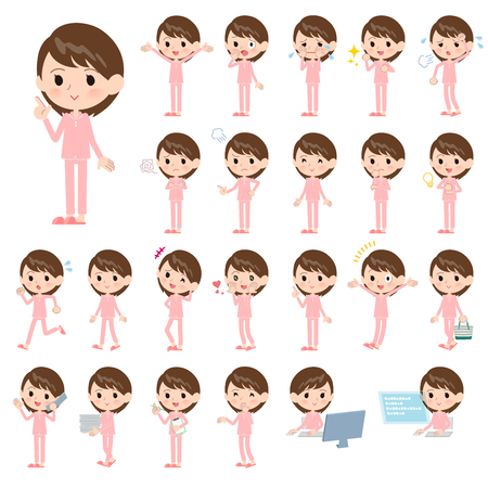 A set of Patient women with who express various emotions.There are actions related to workplaces and personal computers.It's vector art so it's easy to edit.