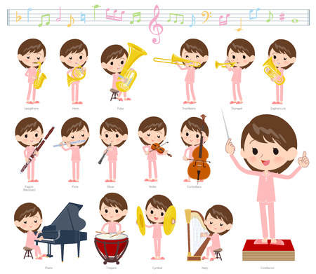 A set of Patient women on classical music performances.There are actions to play various instruments such as string instruments and wind instruments.It's vector art so it's easy to edit. Vettoriali
