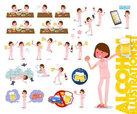 A set of young women related to alcohol.There is a lively appearance and action that expresses failure about alcohol.Its vector art so its easy to edit.