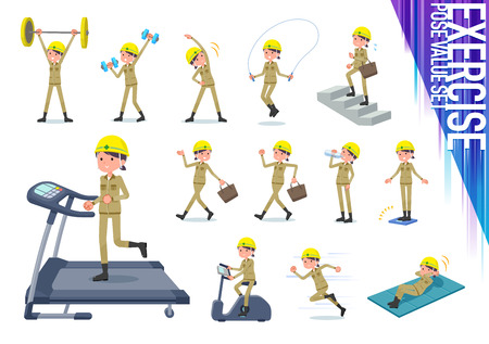 A set of working women on exercise and sports.There are various actions to move the body healthy.It's vector art so it's easy to edit.