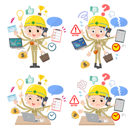 A set of working women who perform multitasking in the office.There are things to do smoothly and a pattern that is in a panic.It's vector art so it's easy to edit.