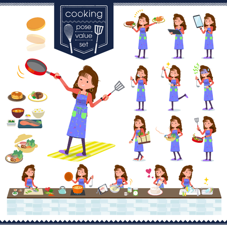 A set of women in the 90's dress about cooking.There are actions that are cooking in various ways in the kitchen.It's vector art so it's easy to edit.